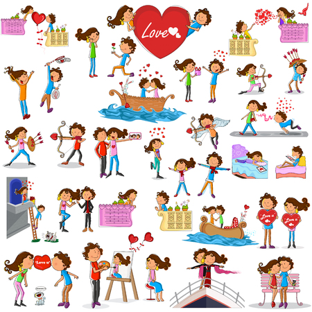 happy couple: Love couples doing different activities in vector