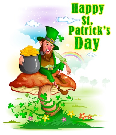 Leprachun in Saint Patricks Day achtergrond in vector Stock Illustratie