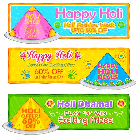 thali: illustration of Holi banner for sale and promotion