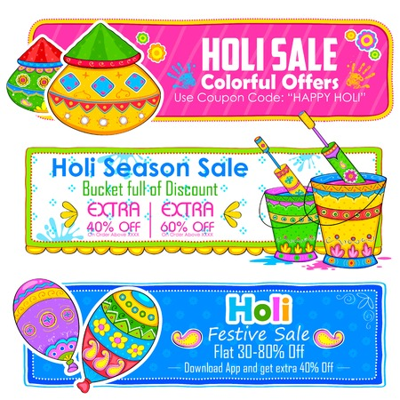 dhulandi: illustration of Holi banner for sale and promotion