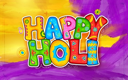 holi: illustration of colorful Holi background in Indian kitsch style