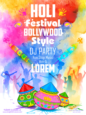 music dj: illustration of DJ party banner for Holi celebration Illustration