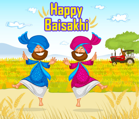 Sikh doing Bhangra, folk dance of Punjab, India for Happy Baisakhi in vector Illustration