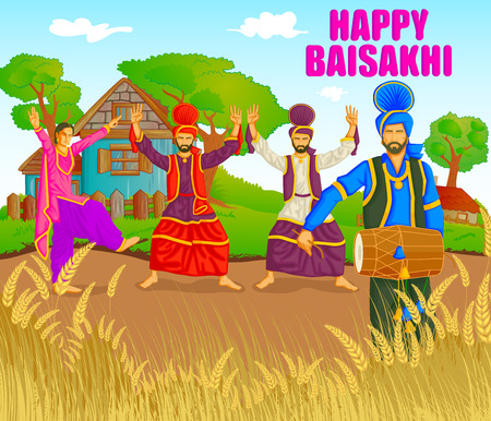 folk festival: Sikh doing Bhangra, folk dance of Punjab, India for Happy Baisakhi in vector Illustration