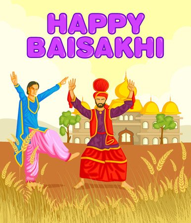 folk dance: Sikh doing Bhangra, folk dance of Punjab, India for Happy Baisakhi in vector Illustration