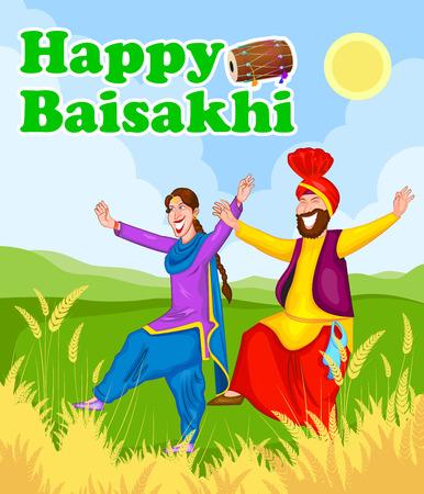 Sikh doing Bhangra, folk dance of Punjab, India for Happy Baisakhi in vector Vector