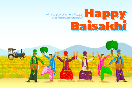 Sikh doing Bhangra, folk dance of Punjab, India for Happy Baisakhi in vector Иллюстрация