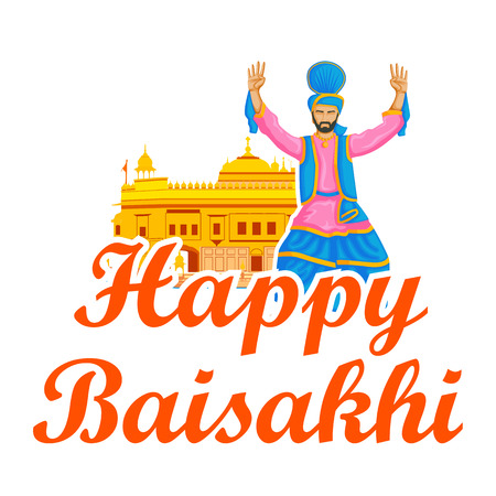 kameez: Sikh doing Bhangra, folk dance of Punjab, India for Happy Baisakhi in vector Illustration