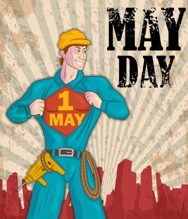 Gelukkig May Day viering in vector Stock Illustratie