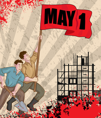labour day: Happy May Day celebration in vector