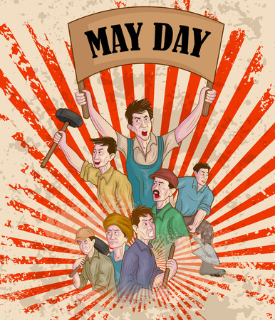 activism: Feliz celebraci�n del Primero de Mayo en el vector