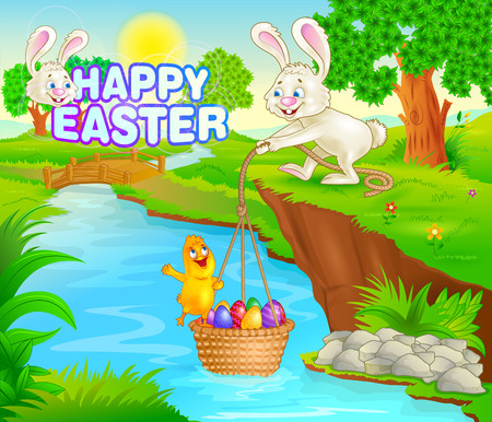 Happy Easter holiday celebration background in vector Vector