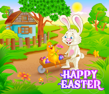 holiday background: Happy Easter holiday celebration background in vector Illustration