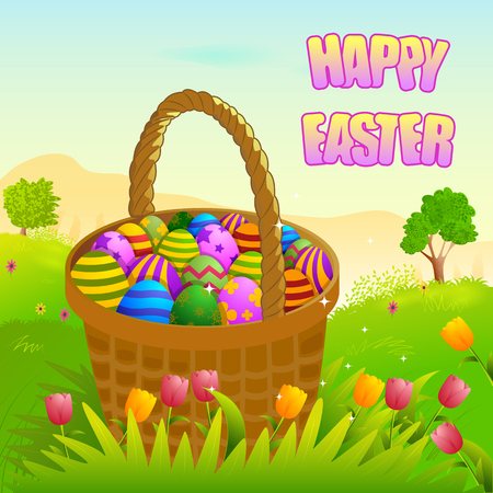 easter tree: Happy Easter holiday celebration background in vector Illustration