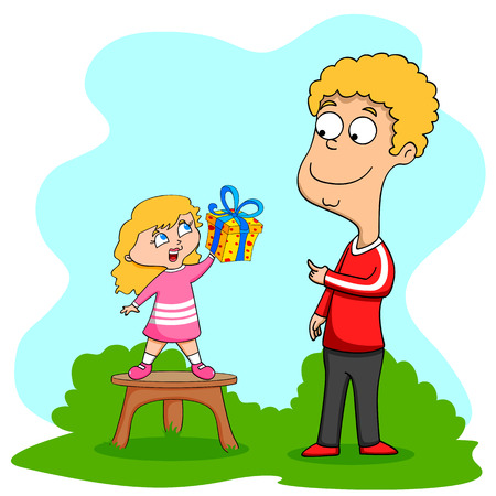 i kids: Happy Fathers Day greeting background in vector Illustration