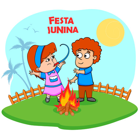 personas celebrando: Gente que celebra la Festa Junina festival en vector