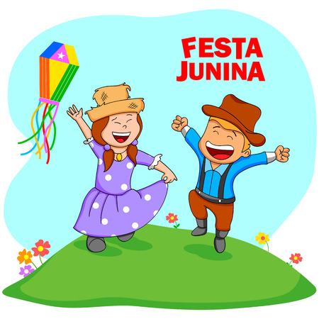 people celebrating: People celebrating Festa Junina festival in vector