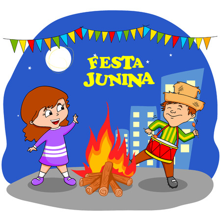gente celebrando: Gente que celebra la Festa Junina festival en vector