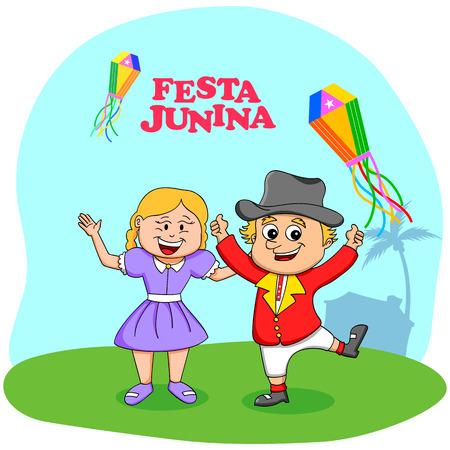 festa: People celebrating Festa Junina festival in vector