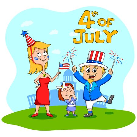 people celebrating: People celebrating 4th of July Independence Day of America in vector Illustration