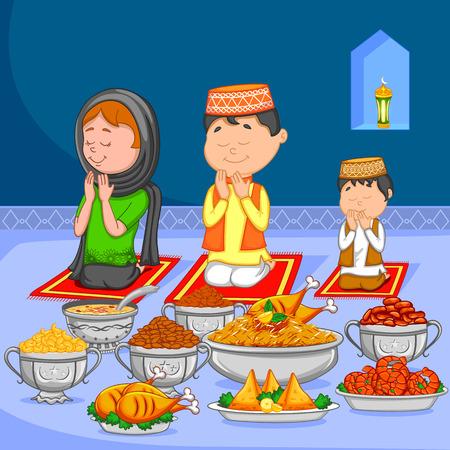 Gelukkig moslim familie genieten van iftar voor Eid viering in vector