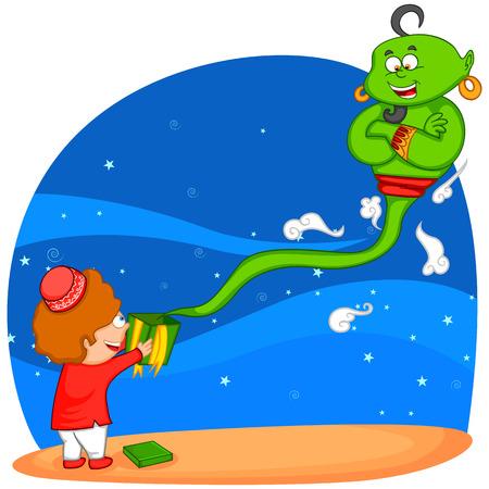 genio de la lampara: Genie procedentes de regalo de Eid, feliz Eid en el vector Vectores