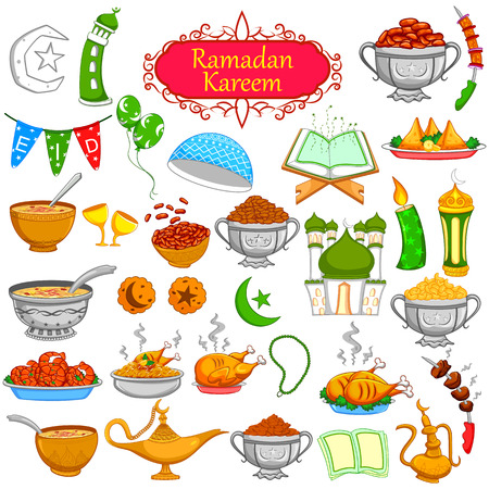 Ramadan Kareem designing object for Eid celebration in vector Çizim