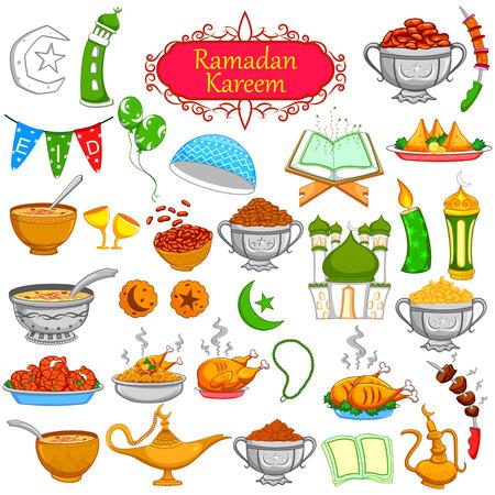 cibo: Ramadan Kareem oggetto la progettazione per Eid celebrazione nel vettore