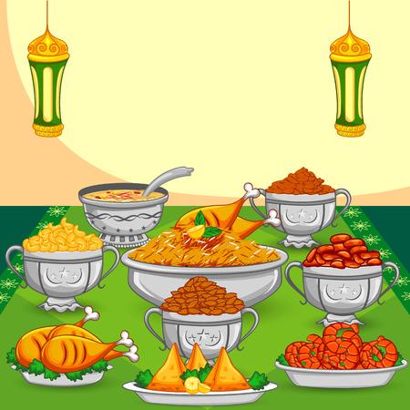 comida arabe: Comida Iftar Ramad�n Eid para la celebraci�n en el vector