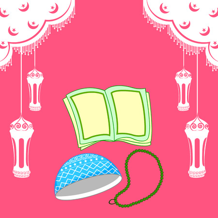 muslim celebration: Quran and muslim cap for Eid celebration in vector
