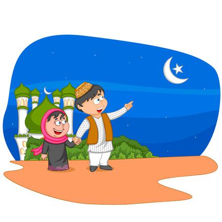 arabian: Muslim kids wishing Eid mubarak,Happy Eid in vector