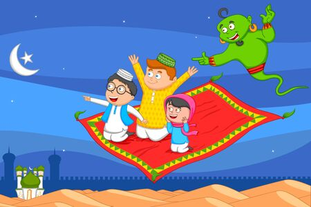 jinn: Muslim man flying on magic carpet wishing Eid mubarak, Happy Eid in vector