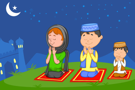 offering: Muslim family offering namaaz on Eid in vector