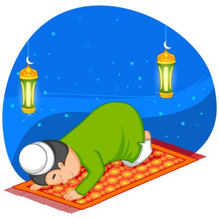 ramzan: Muslim offering namaaz on Eid in vector