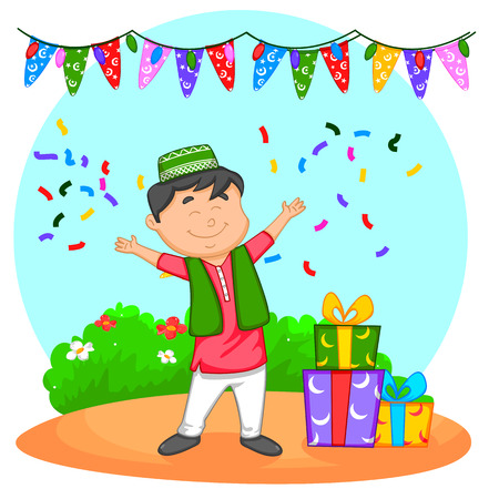 Muslim kid with Eid gifts in vector