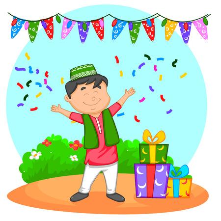 带着开斋节礼物的穆斯林小孩