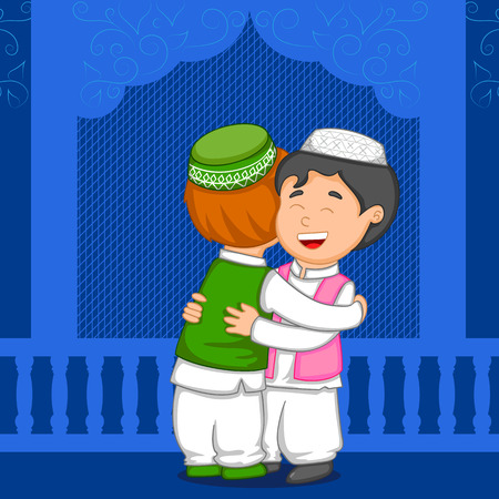 muslim: Muslim people hugging and wishing Eid in vector