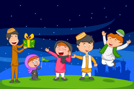 Happy muslim family celebrating Eid with gift in vector