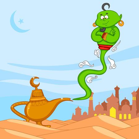 jinn: Genie deseen Eid Mubarak, Feliz Eid en el vector Vectores