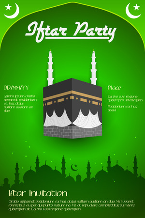 holy: Iftar party flyer with Mecca in vector Illustration
