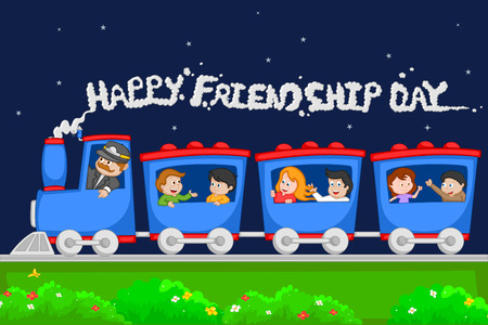 Friendship Day background with friends in vector Illustration