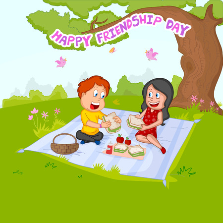 forever: Friendship Day background with friends in vector Illustration