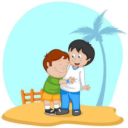 amicizia: Sfondo Friendship Day con gli amici nel vettore