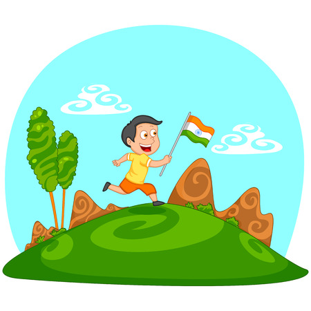 hoisting: Indian boy hoisting flag of India in vector background Illustration