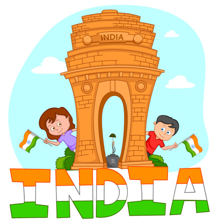 independence day: Indian brother and sister with flag of India in vector background