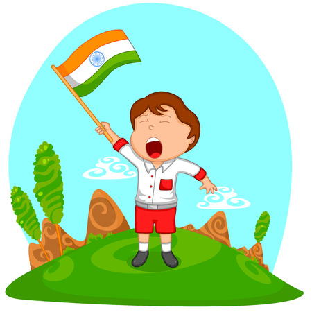 national flag: Indian boy hoisting flag of India in vector background Illustration