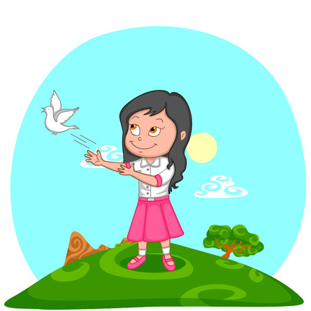 releasing: girl releasing pigeon for freedom in India background Illustration