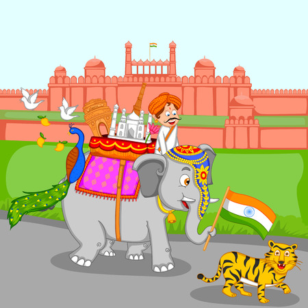 august: Famous monument on elephant with tiger infront of Red Fort in vector Illustration