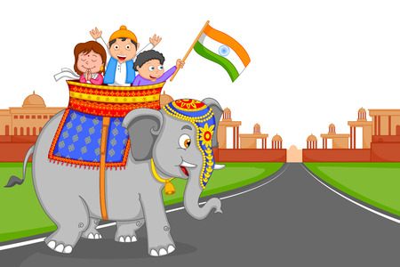 hoisting: Indian kid hoisting flag of India in vector background Illustration