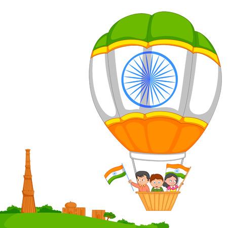 qutub minar: Indian kid hoisting flag of India in vector background Illustration
